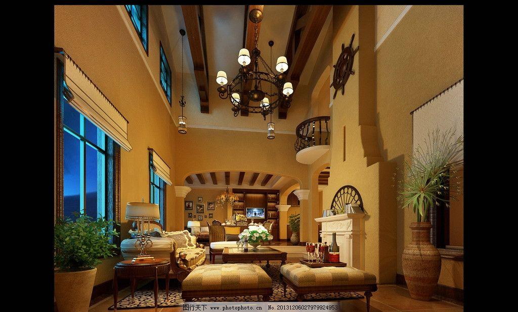室内设计 装修效果图 美式风格 沙发 吊灯 跃层 家装        3d作品