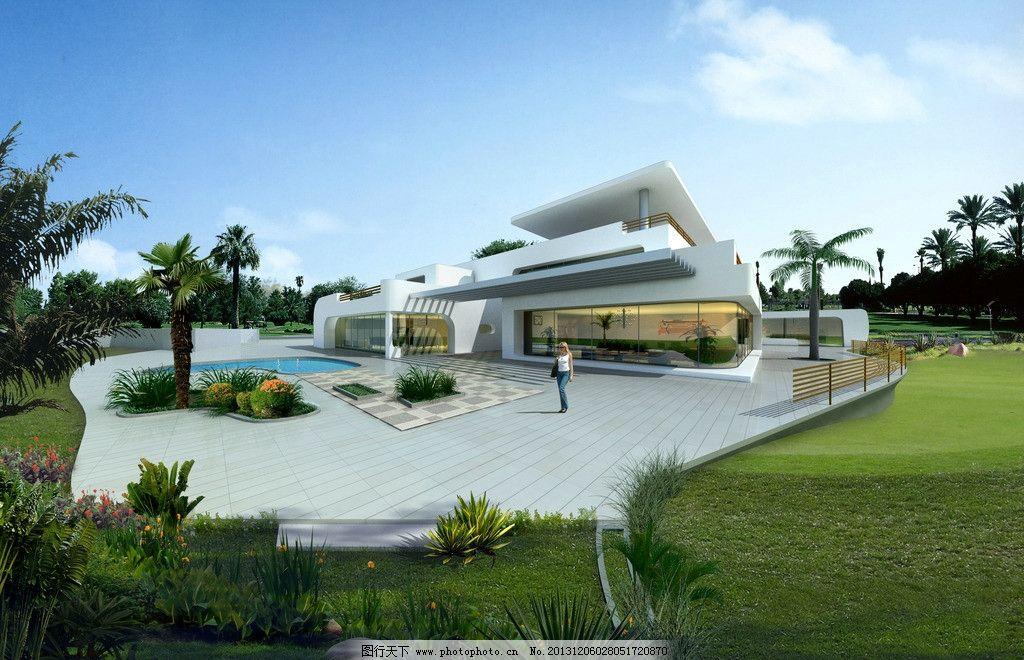 现代别墅 现代建筑 别墅 会所 蓝天白云 泳池 建筑设计 环境设计 设计
