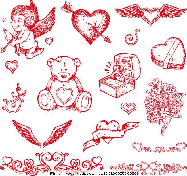 天使 玩具 小熊 手绘 插图 爱心 丘比特 天使 小熊 玩具 手绘插画素材