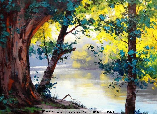油画 河岸树木 大树 风景 风景画 挂画 河流 河水 绘画 河岸树木设计