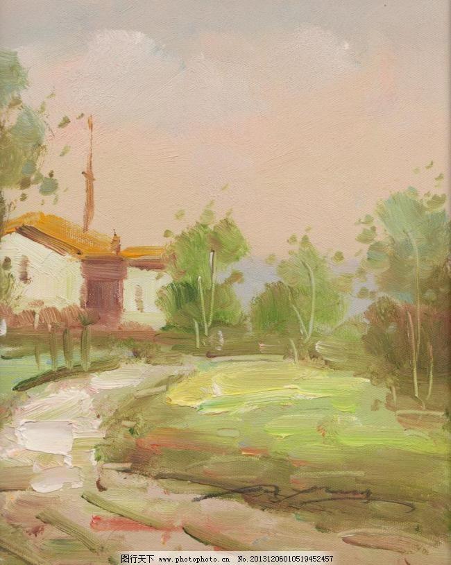 印象风景油画 纯手绘油画 房子 绘画书法 家 家乡 路树 文化艺术