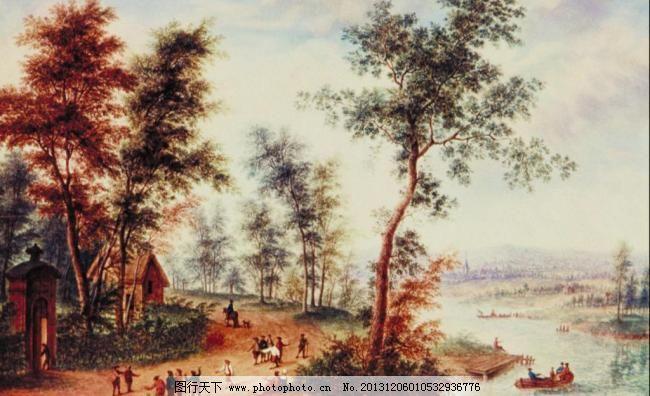 国外山水油画 传统文化 河水 绘画书法 蓝天 美景 人物 山水画