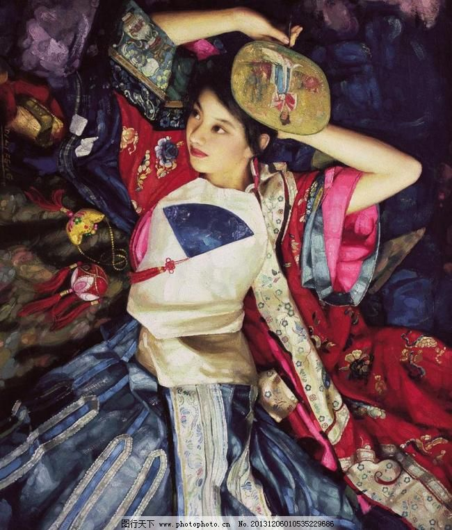 古装美女 古装 美女 女子 油画 人物 陈逸飞 扇子 团扇 红装 肚兜
