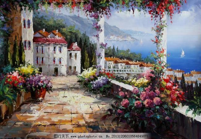 绘画书法 欧美油画风景 设计 手绘油画 文化艺术 欧美油画风景 房子