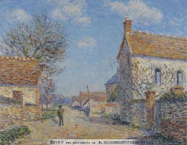 房屋建筑油画图片