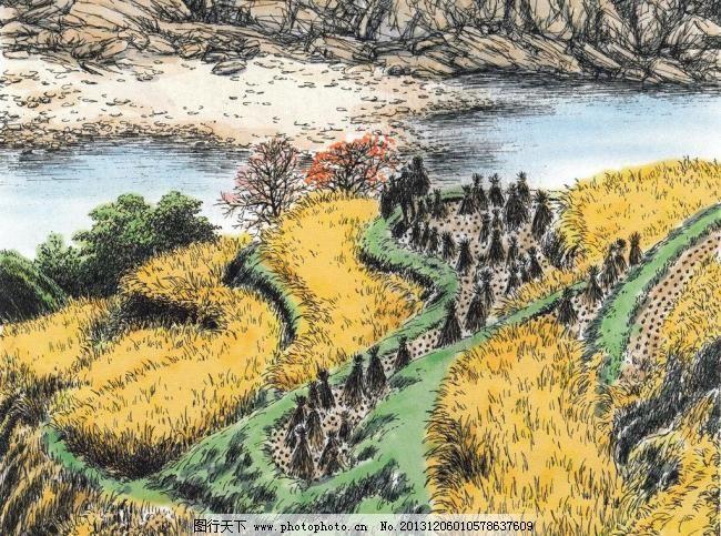 稻田 稻谷 丰收 风景油画 河流 绘画书法 郊外风景 麦田 稻田设计素材