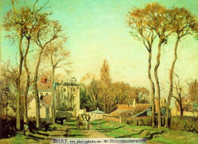 设计 树木 文化艺术 欧美油画 秋意绿色 树木 小道 马车 人物 房子