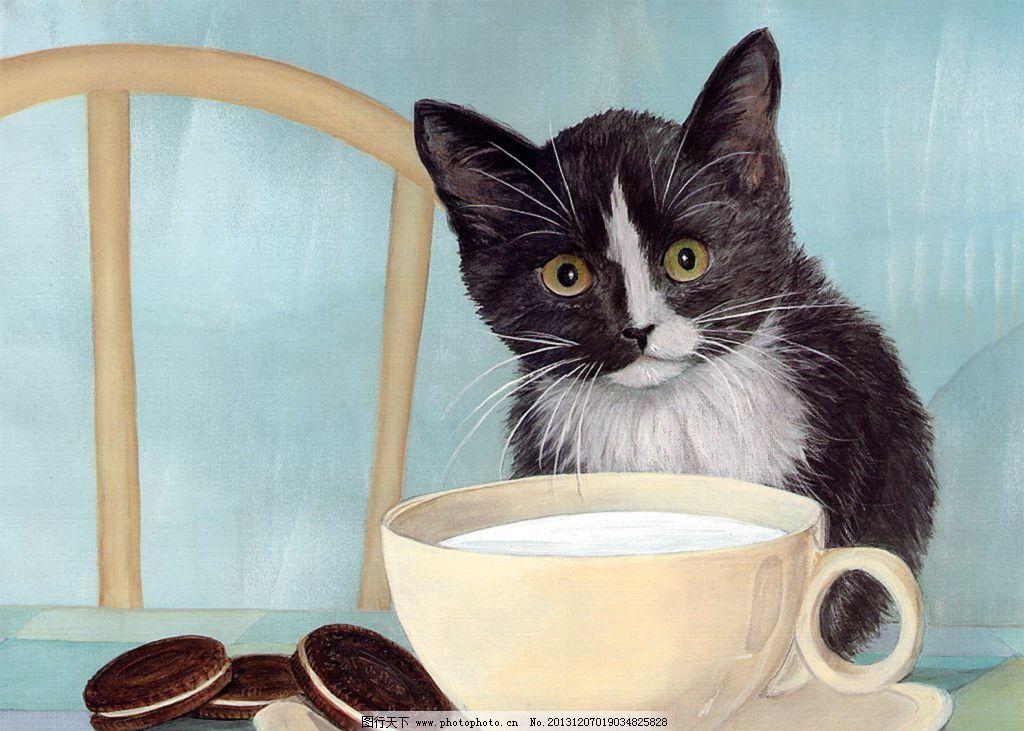 小猫 饼干 猫 国画 版画 油画 水彩画 水墨画 工笔画 民间艺术 绘画