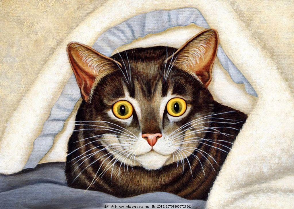 可爱小猫 猫 国画 版画 油画 水彩画 水墨画 工笔画 民间艺术 绘画 躲