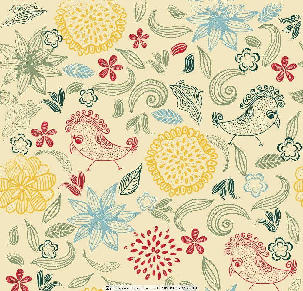 手绘花卉 花卉 花边 卡片 素描 卡通背景 小鸟 名片 花纹花卉 矢量