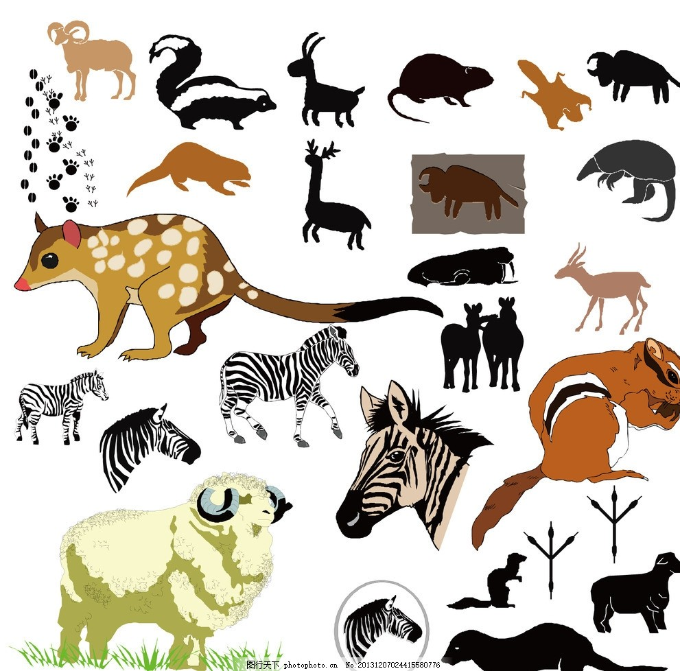 卡通动物绵羊斑马松鼠