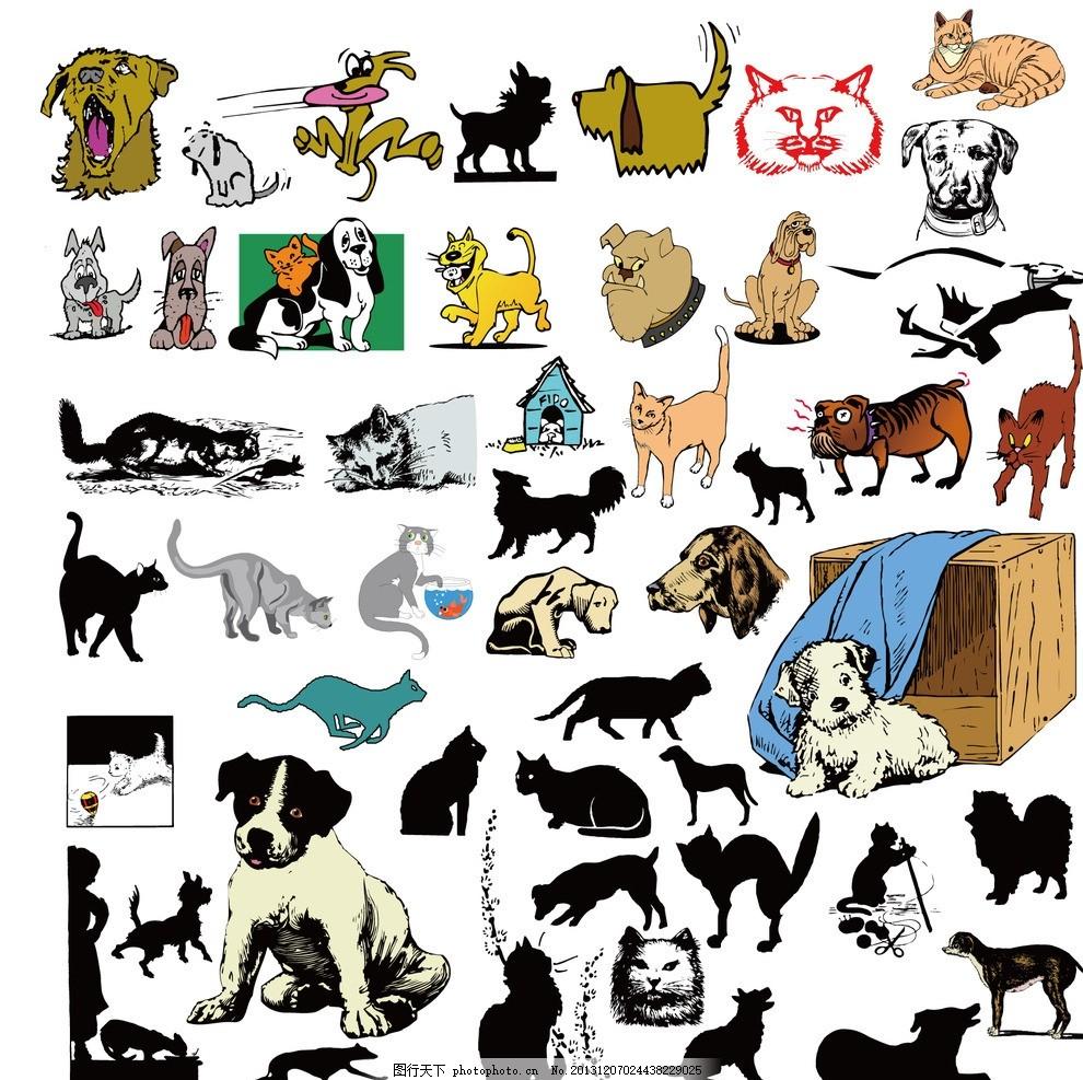 卡通手绘生活图案 猫 狗 可爱生活 情趣 休闲 剪影 表情 动物图形元素