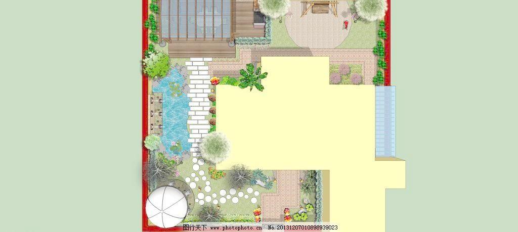 别墅花园平面模板下载 别墅花园平面 花园 树木 欧式亭 秋千 休息区