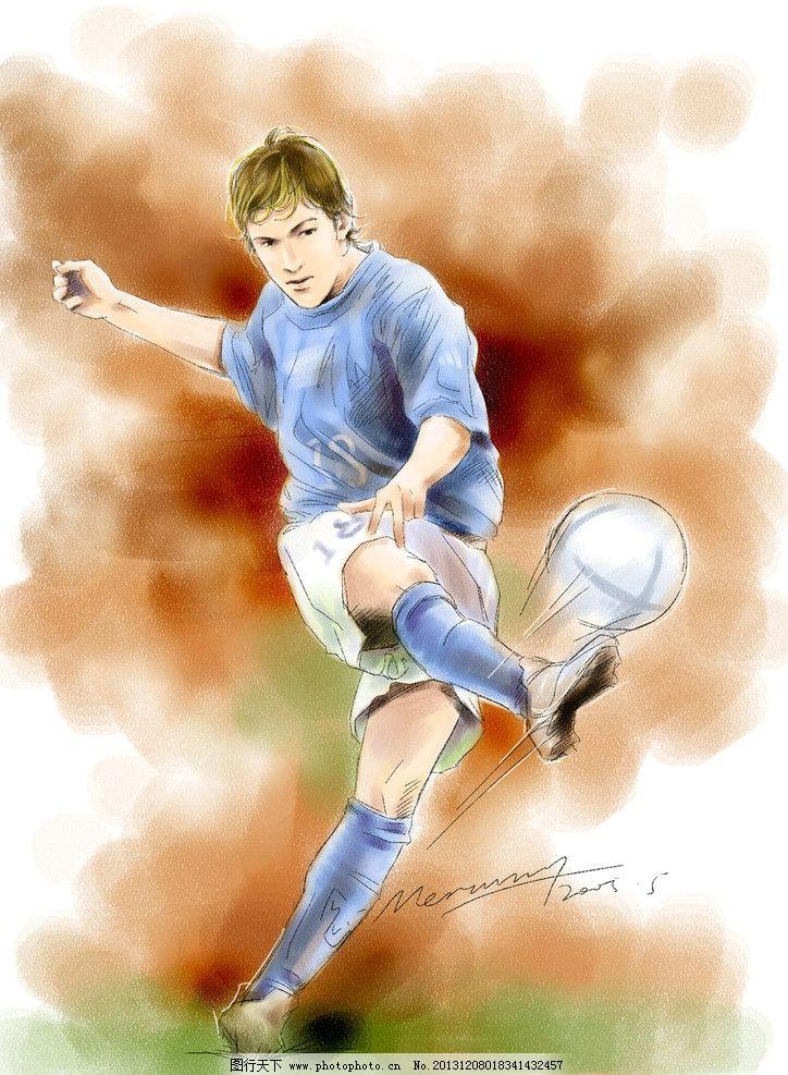 手绘人物 足球 漫画 动漫 帅哥 男人 运动 体育 动漫动画