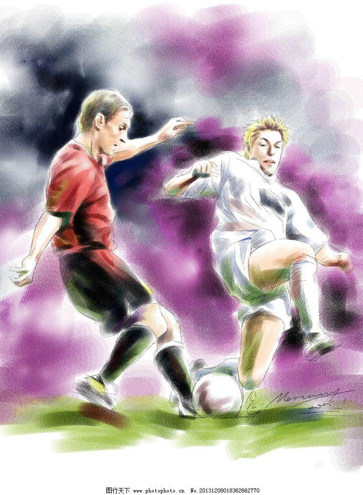 手绘人物 足球 手绘 漫画 动漫 帅哥 男人 运动 体育 动漫人物 动漫