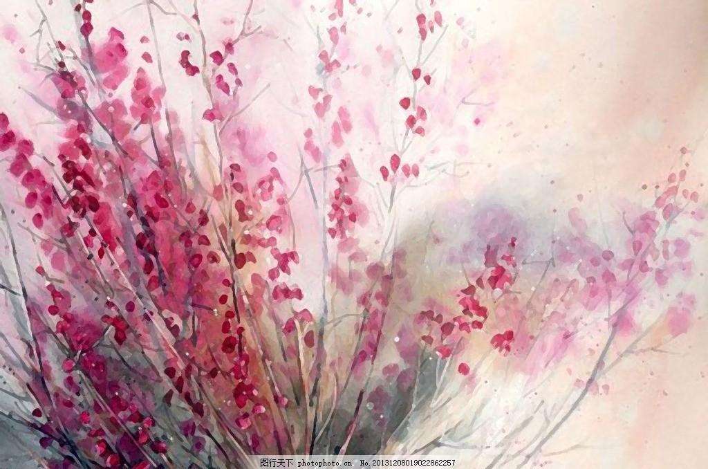 水彩花 繁花水彩画 花儿朵朵 油画 无框画 客厅画 现代画 干笔画 桃花