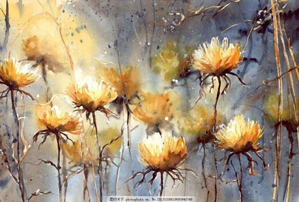 菊花 繁花水彩画 花儿朵朵 花卉 干笔画 大自然 室内装饰画 无框画 客