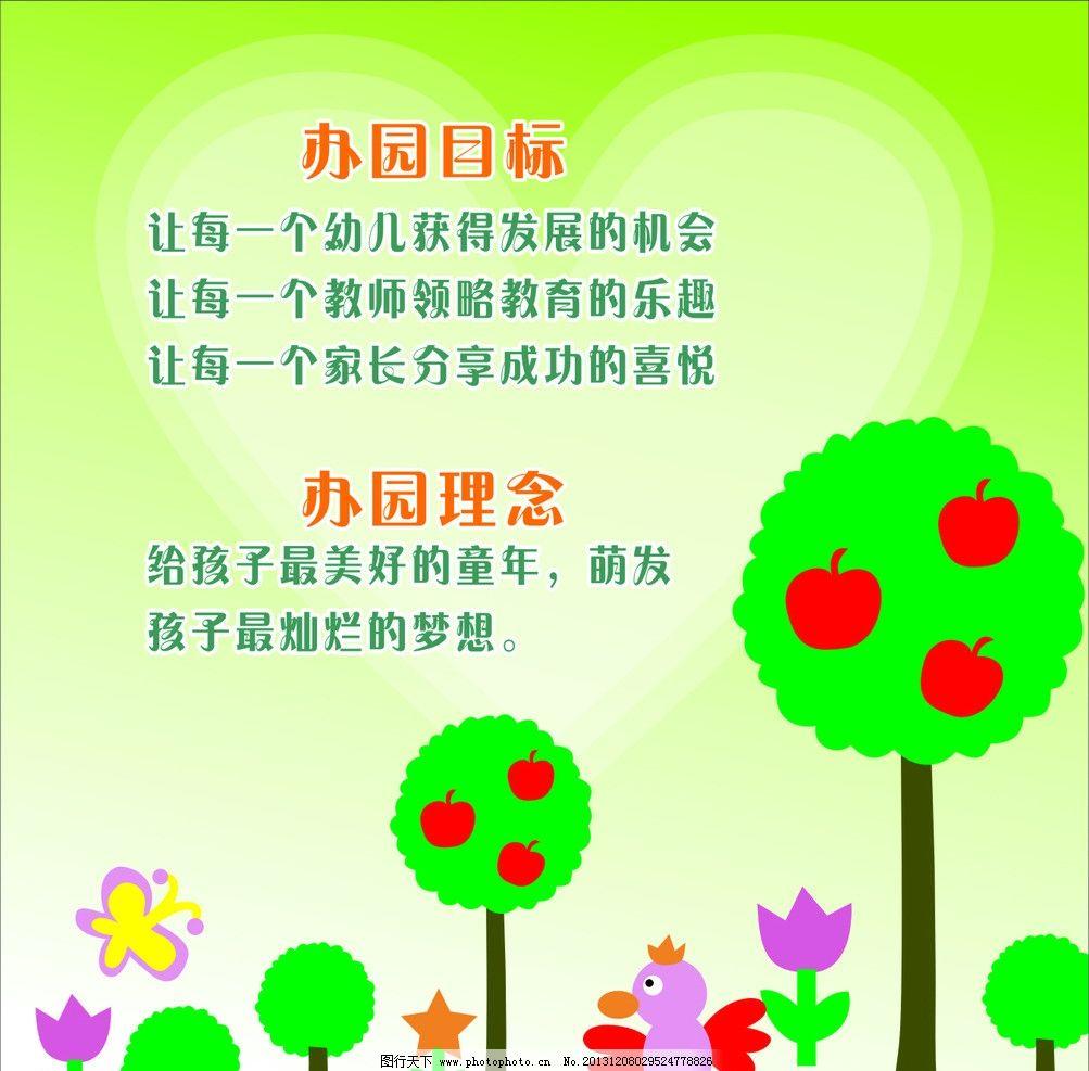 幼儿园办园目标 办园理念 卡通 可爱 小鸟 小树 苹果 矢量