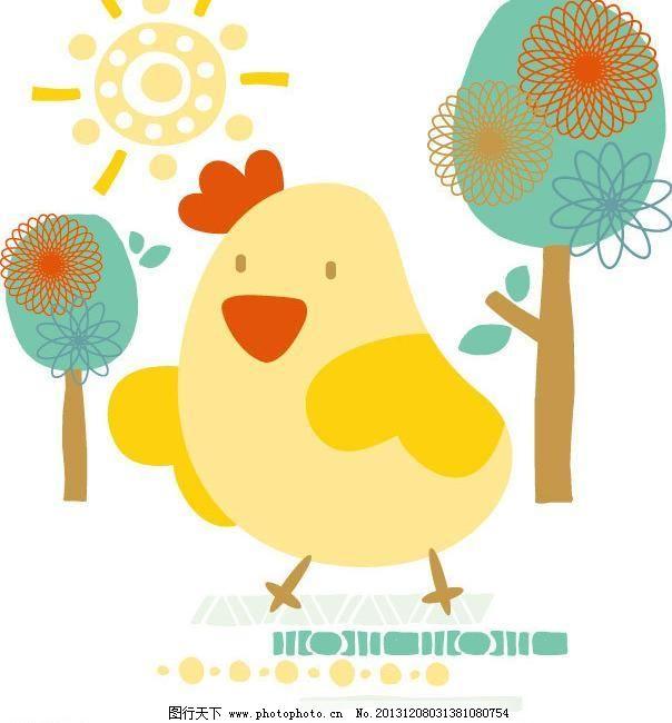 儿童 儿童服装 小鸡矢量素材 小鸡模板下载 小鸡 鸡 小树 树林 动物