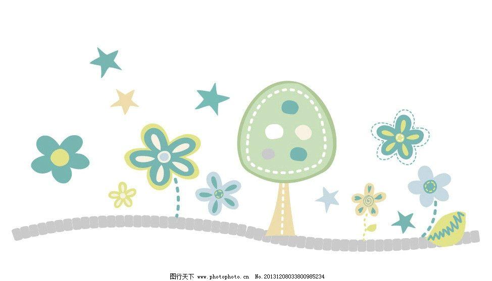 卡通画 树林 卡通 儿童 t恤印花 儿童印花 图案 图形设计 创意插画