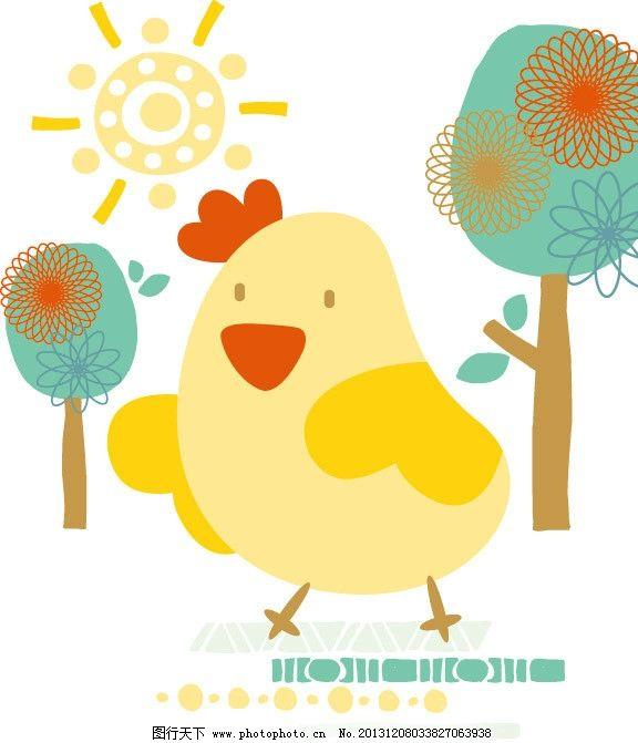 小鸡 小树 树林 动物卡通 儿童 儿童印花 图案 图形设计 创意插画