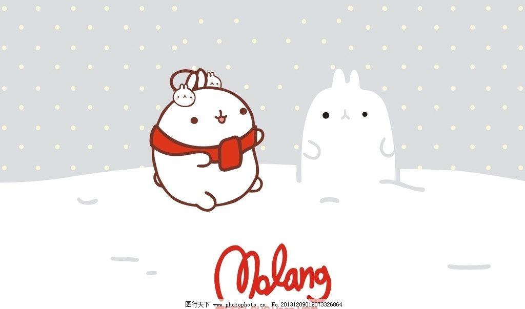 胖兔子 兔子 白兔 卡通 圣诞节 下雪 雪人 可爱 矢量动漫 美术绘画