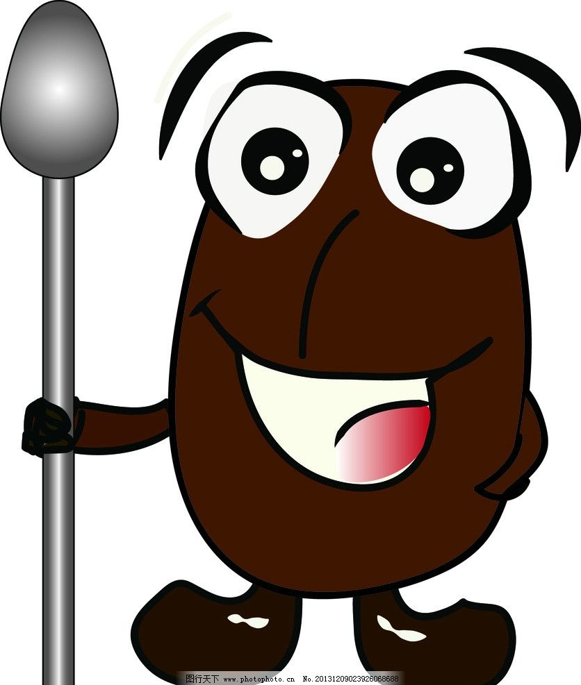 吉祥物 咖啡色 勺子 笑脸 可爱 其他人物 矢量人物 矢量 ai