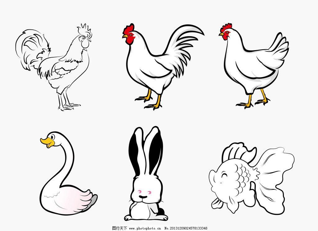 家禽简笔画矢量图 鸡鹅 天鹅 兔 兔子 鱼 金鱼 矢量素材 公鸡
