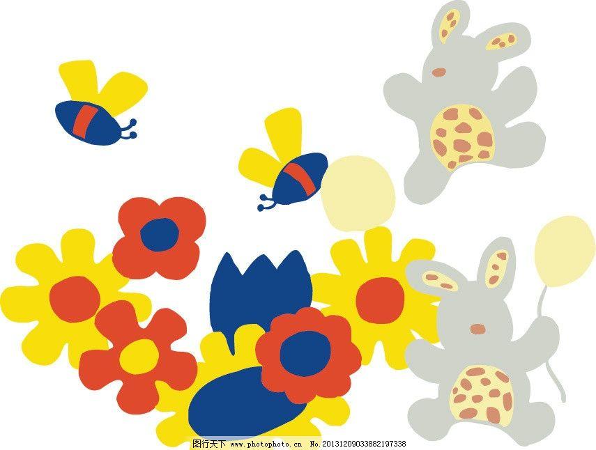 卡通 插画 蜜蜂 花朵 印花 儿童 儿童印花 图案 图形设计 创意插画