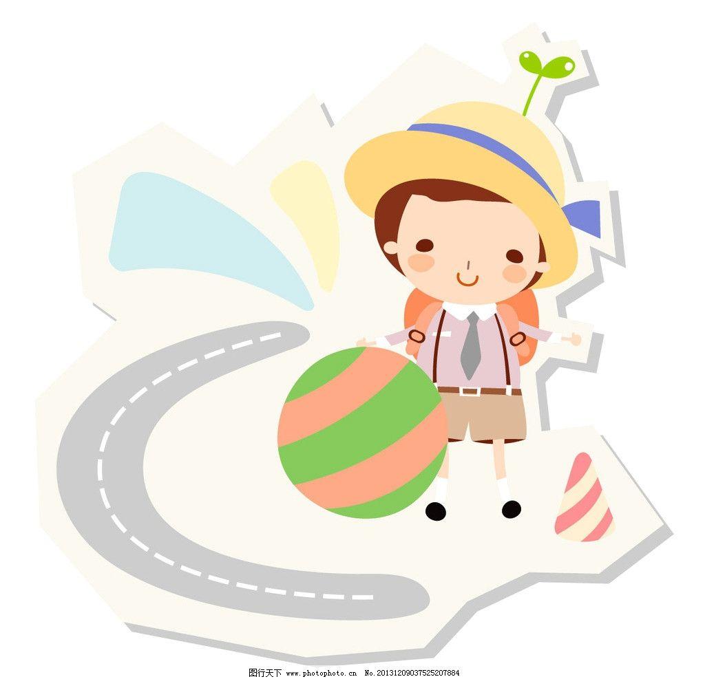 小学生 上学 上学路 斑马线 背书包 小男孩 成长乐园 卡通插画 儿童