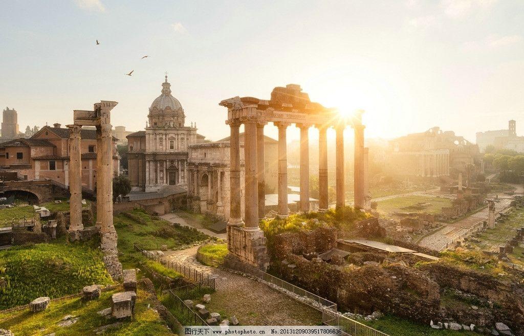 罗马古建筑 古建筑 夕阳