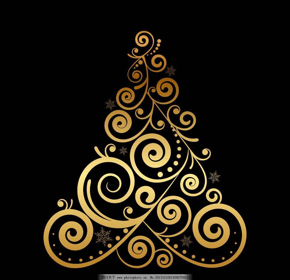 圣诞背景 圣诞 欧式花纹 金色 创意圣诞树 新年背景 圣诞节装饰素材