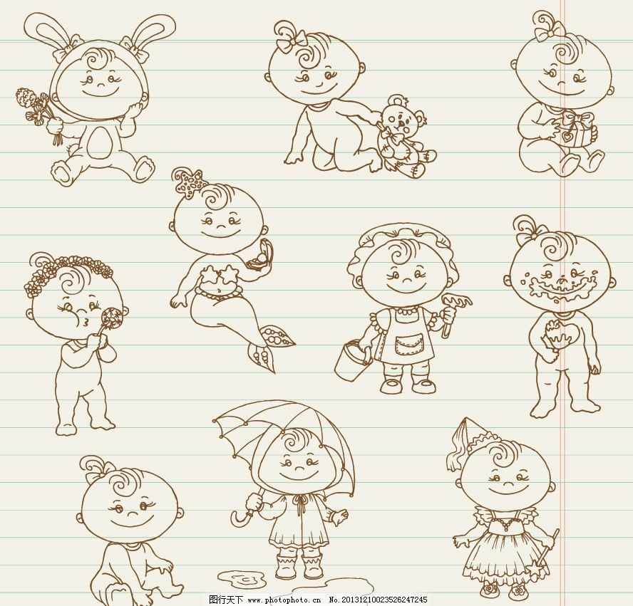 婴儿宝宝 婴儿 宝宝 宝贝 幼儿 可爱 卡通 线条 卡通婴儿 卡通宝宝
