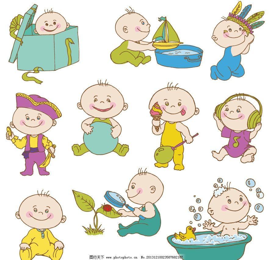 婴儿宝宝 宝贝 幼儿 可爱 卡通 线条 卡通婴儿 卡通宝宝 礼盒