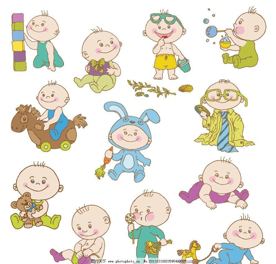 婴儿宝宝 宝贝 幼儿 可爱 卡通 线条 卡通婴儿 卡通宝宝 玩耍