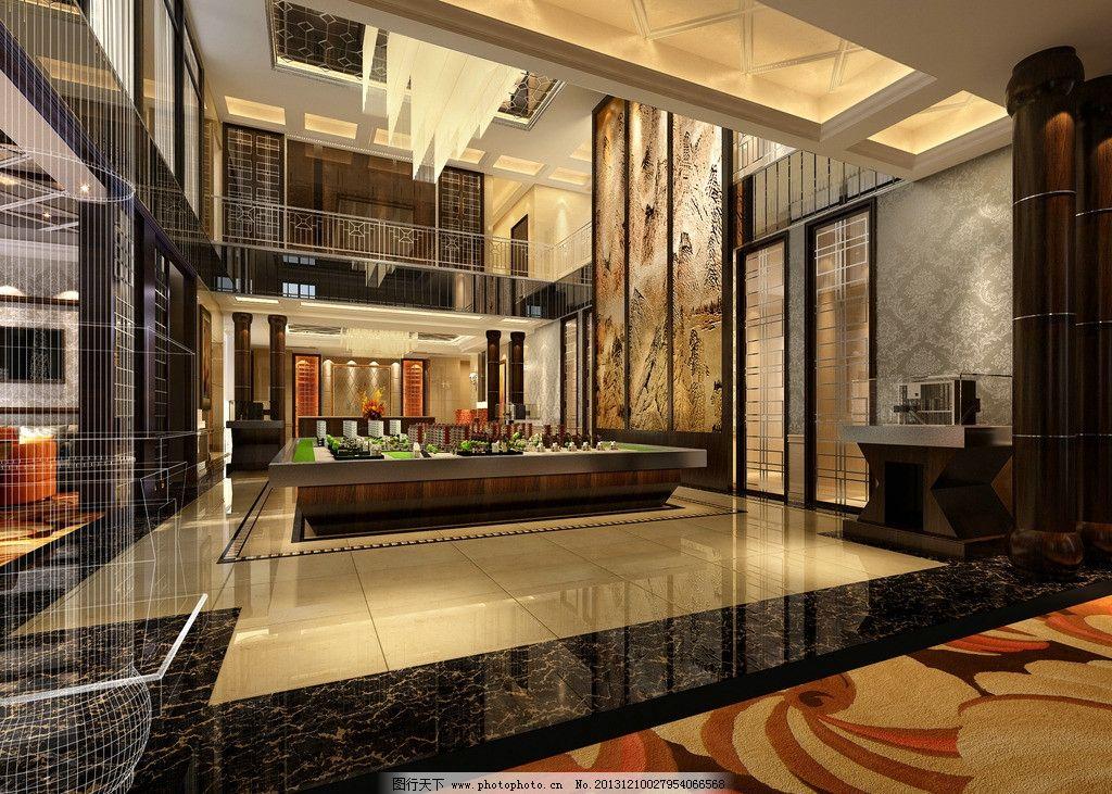 大厅        商业空间 售楼中心 茶镜 中式 水晶灯 石材拼花地面 暖色