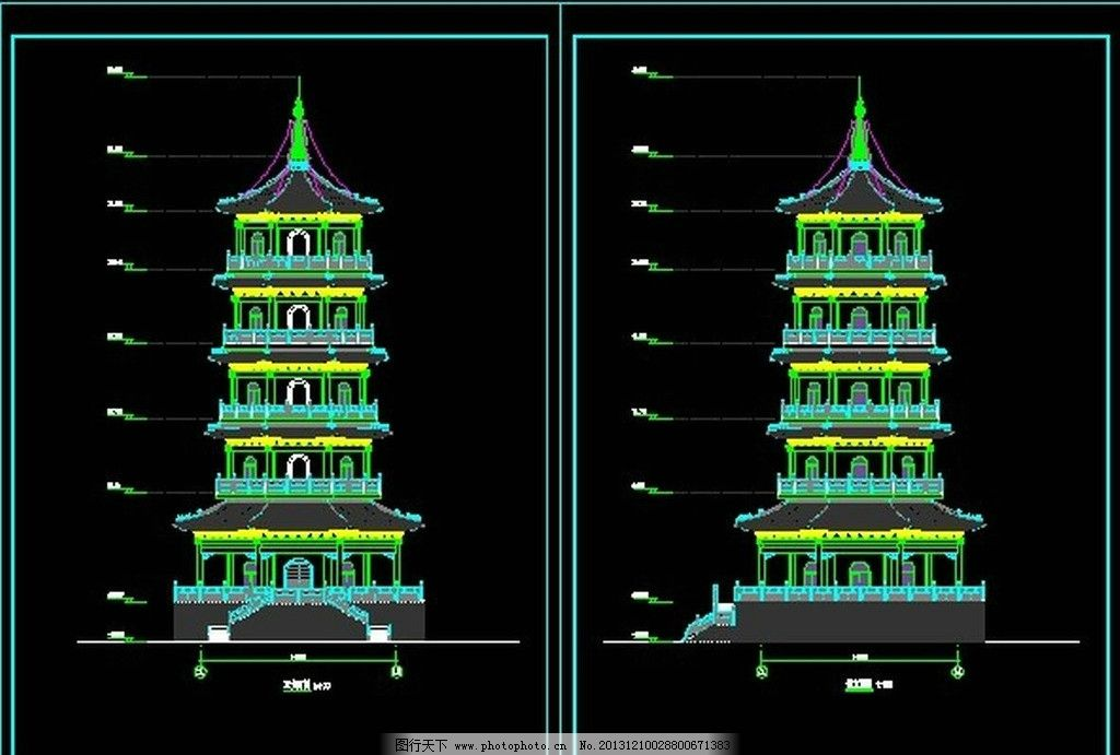 五层塔施工图 五层塔 施工图 塔 古建 仿古 施工图纸 cad设计图 源