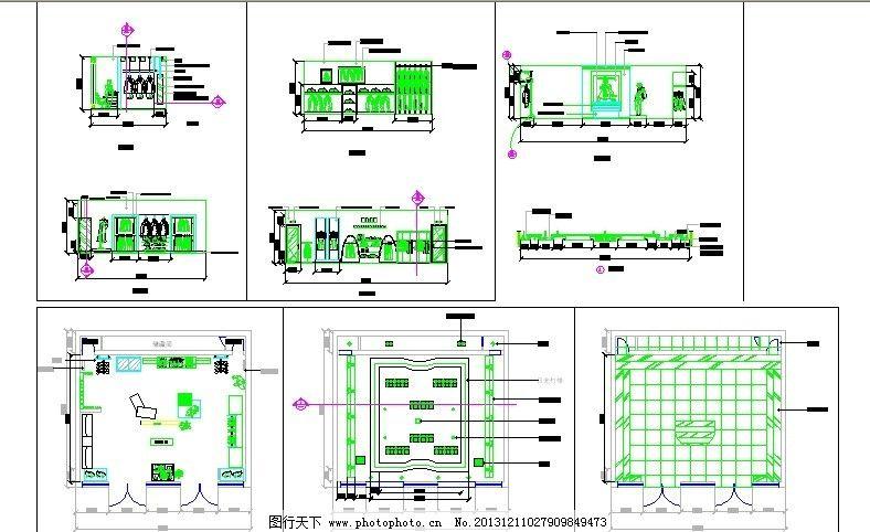 服装店 平面图 立面图 天花图 地板图 收银台 室内设计 环境设计 源文