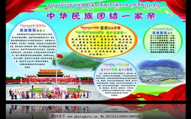 藏汉双语 藏式展板 学校展板 民族团结教育展板 展板模板 广告设计图片