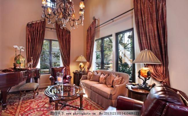 吊顶 吊扇 别墅客厅图片素材下载 别墅客厅 北欧风格 美式 装修 大厅
