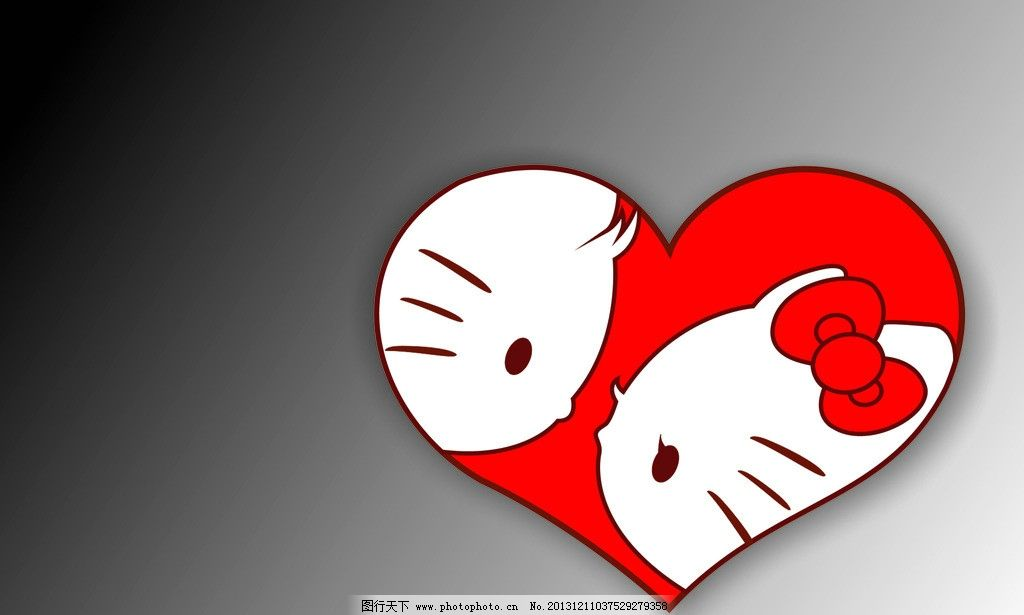 卡通心型 卡通 心形 蝴蝶结 kiti猫 猫头 可爱 卡通设计 广告设计