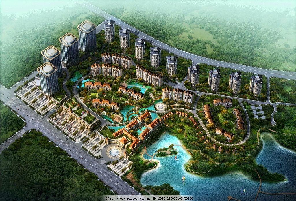 某小区鸟瞰图 鸟瞰图        建筑 湖 绿化 景观设计 环境设计 设计