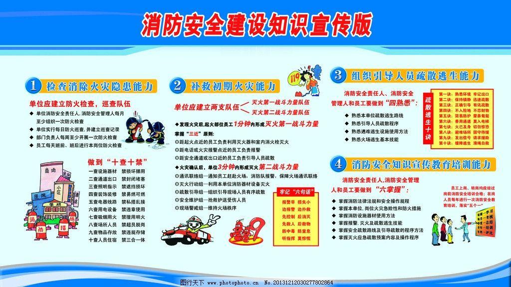 小学生消防安全知识宣传展板图片psd素材免费