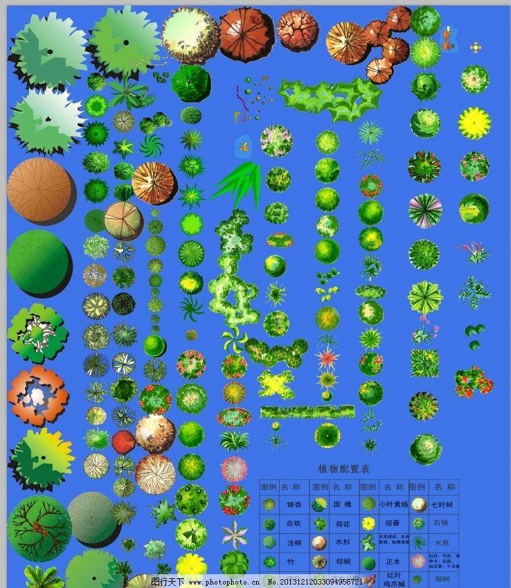 手绘植物模板下载 手绘植物 psd分层平面植物 彩平素材 乔木灌木 psd