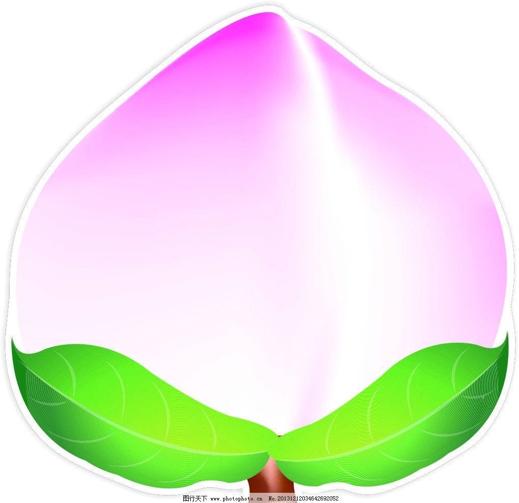 桃子 水果 矢量 树叶 心型 异型 形状 图案 餐饮美食 生活百科