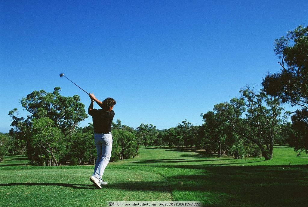 高尔夫球场 高尔夫球人物 挥杆背影 练习高尔夫球 打高尔夫球 娱乐