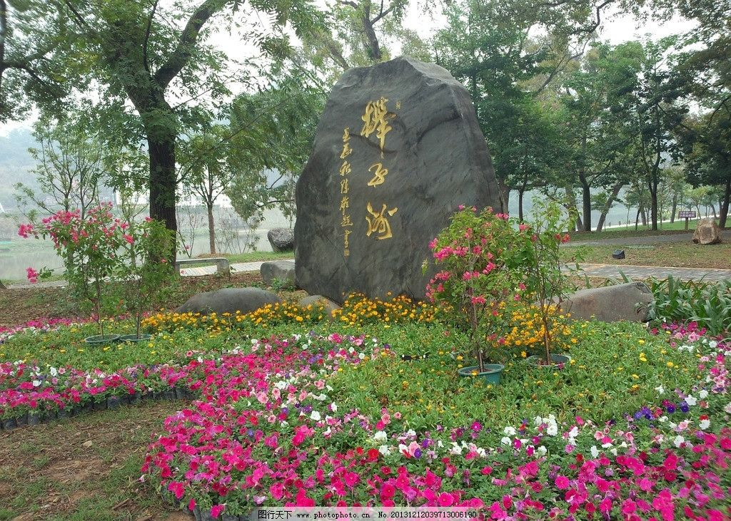 漳平榉子洲公园 石刻 花卉 公园一角 香樟林 建筑园林 摄影