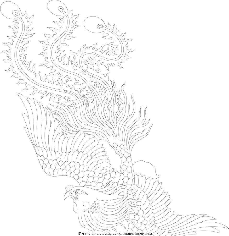 凤凰手绘图矢量图库图片