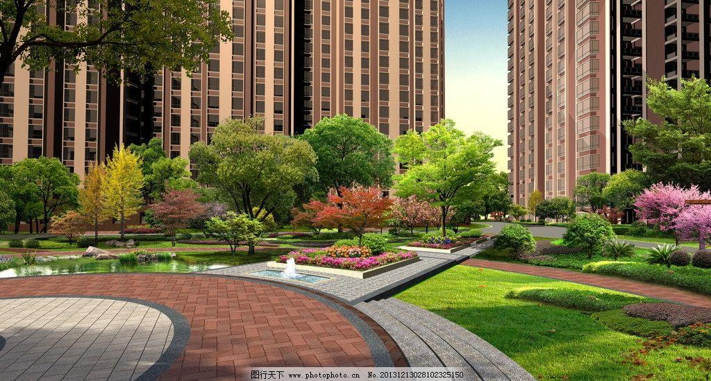 景观 水景 小区 住宅区 幽静 景观设计 环境设计 设计 72dpi jpg