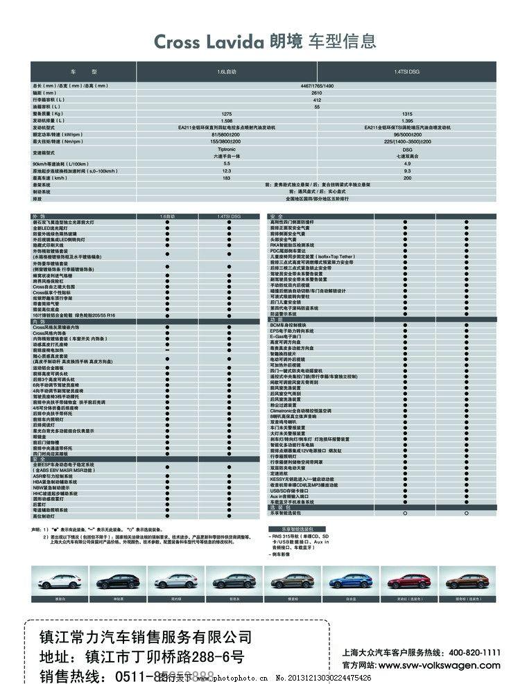 上海大众朗劲参数表 上海大众 朗劲 参数表 汽车 配置表 dm宣传单